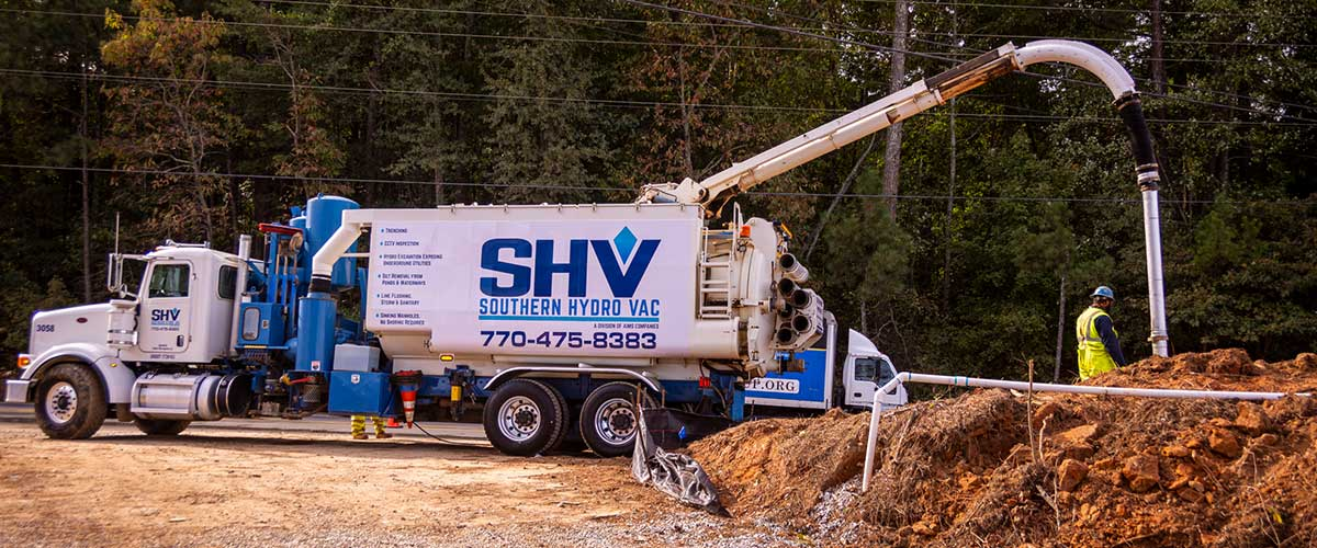 Hydro Vac Truck Trenching at construction site photo for Reviews page
